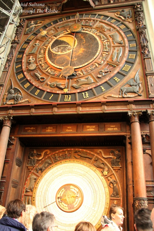 Astronomical Clock inside St. Mary's Church from 1472 in Rostock