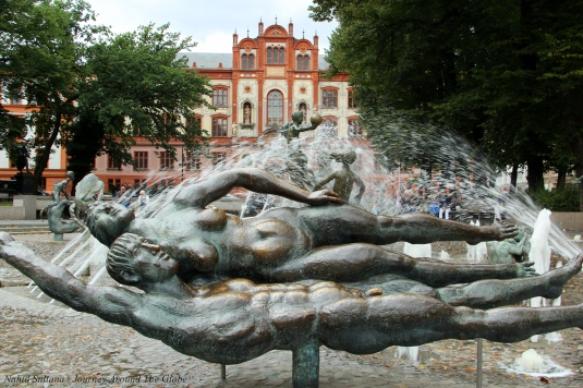 """Fountain of Joy"" in University Square of Rostock, Germany"