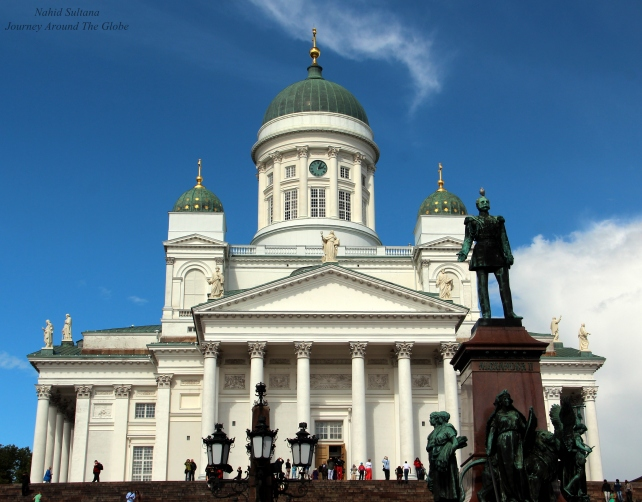 Helsinki Cathedral with statue of Russian Tsar Alexander II in Senate Square of Helsinki