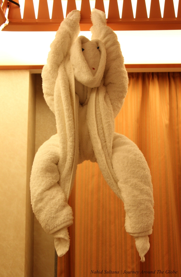 Towel folding Monkey in our cabin