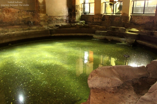 One of the indoor natural pool of Roman Baths in Bath, England