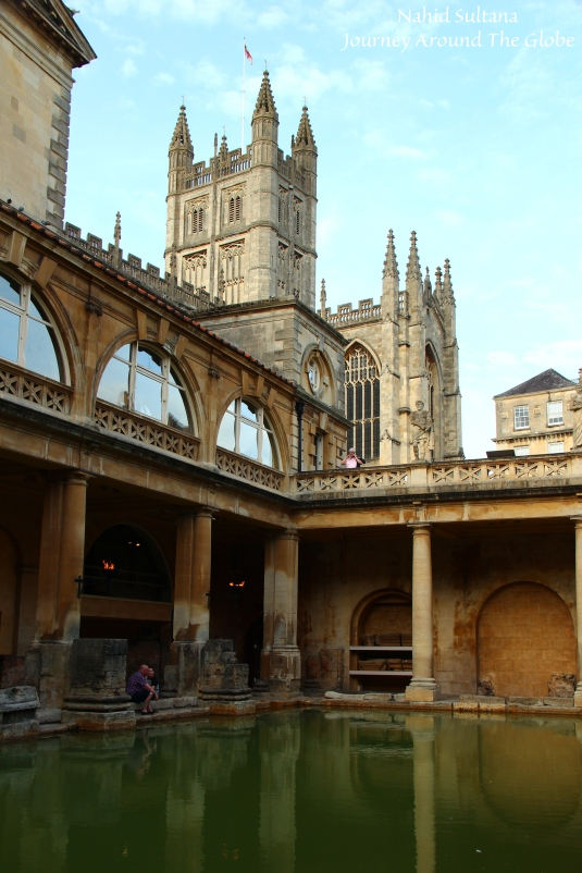 View of Bath Abbey from Roman Baths in Bath, England