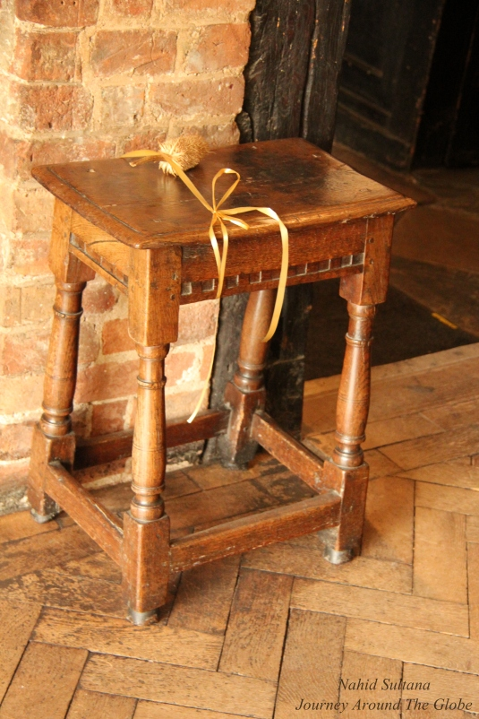 A chair inside Nash's House which is originally from Shakespeare's mother's place. So, the poet probably sat on this chair in his lifetime
