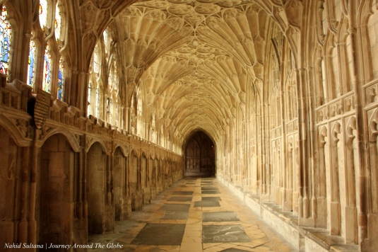 The hallway near the cloister where few scenes of Harry Potter were shot inside Gloucester Cathedral in England