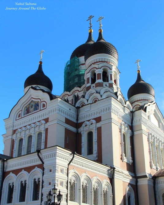 Alexander Nevsky Cathedral in Tallinn, Estonia - a Russian Orthodox Church with onion-domes