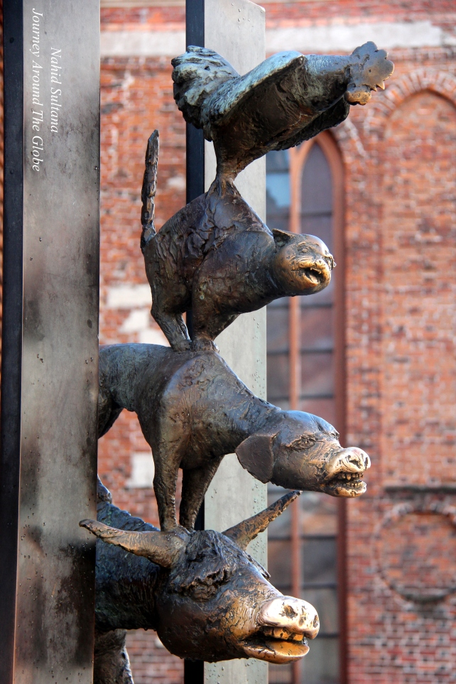 Bremen Musicians at the back of St. Peter's Church of Riga