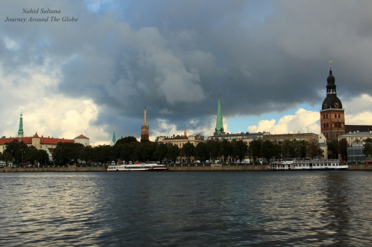Looking at old part of Riga from River Daugava