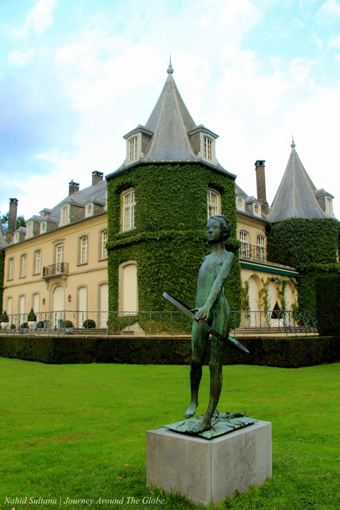 Close-up La Hulpe Castle in Wallonia of Belgium