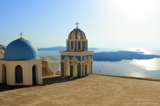 Looking at Aegean from Firestefani, Santorini