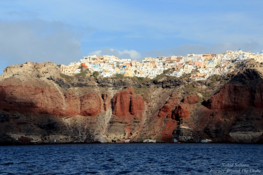 From our boat, leaving Oia behind