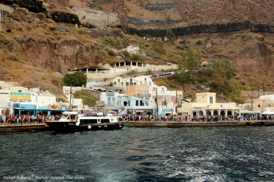 Fira Old Port and the stairs that goes up to Fira main town