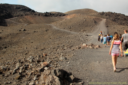Hiking on active volcanic island, Nea Kamini...beautifully barren and rugged landscape