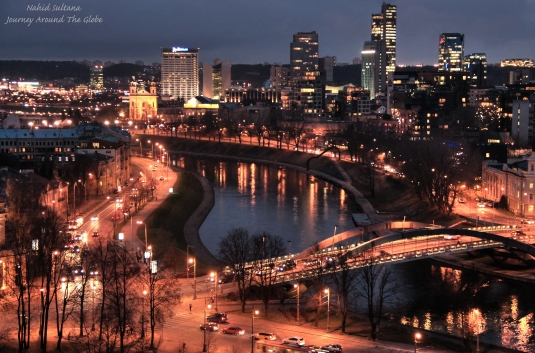 Vilnius after dark, a stunning view from Gediminas Castle