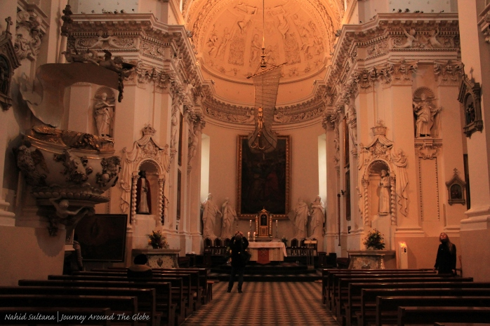 Inside Church of St. Peter and Paul in Vilnius, Lithuania...a masterpiece of Lithuanian Baroque