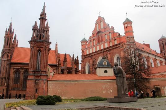 St. Anne's Church and Bernardine Church near Uzupis District in Vilnius, Lithuania