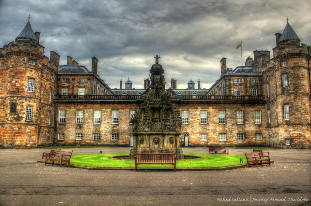 Front facade of Holyrood Palace at one end of Royal Mile, Edinburgh