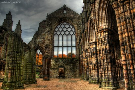 Ruins of Holyrood Abbey in Edinburgh