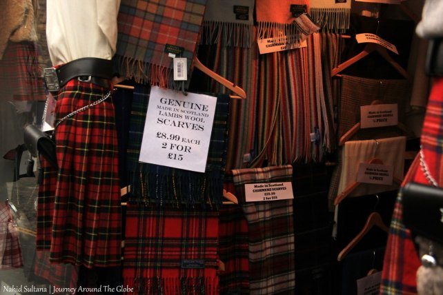 Some Scottish souvenirs in one of the stores on Royal Mile, Edinburgh