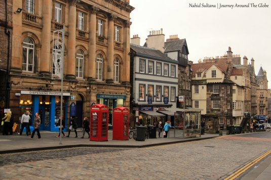 Walking on Royal Mile in Edinburgh