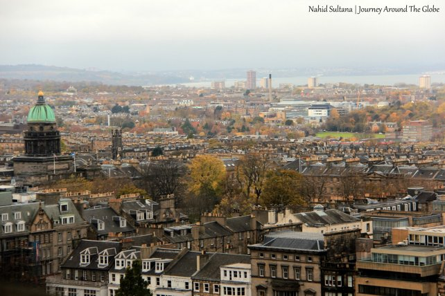 Panoramic view of the city and Nor Loch from Edinburgh Castle
