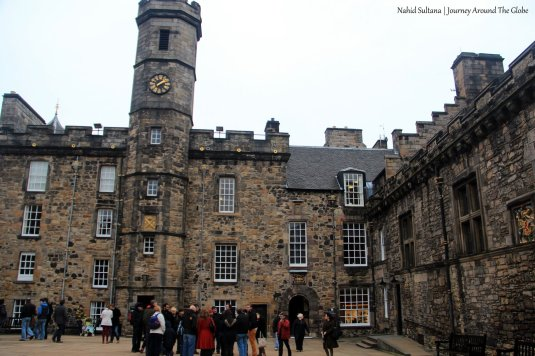 Royal Palace (front) and Great Hall (right) in Edinburgh Castle