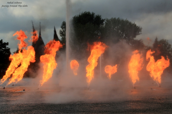 Fire and water show near the entrance at the end of the day in Efteling