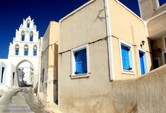Bell Tower of Church of Virgin Mary in Megalochori, Santorini