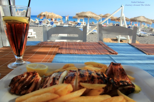 My lunch, grilled calamari in Perissa Beach