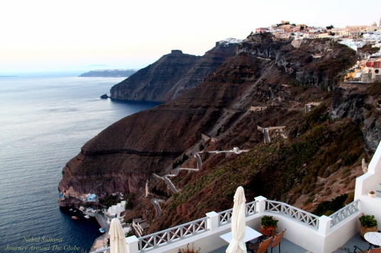 The rugged terrain of Santorini