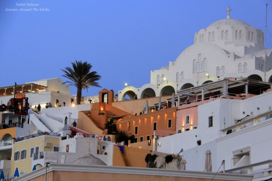 Fira with Cathedral Church of Candlemas of the Lord on the right side