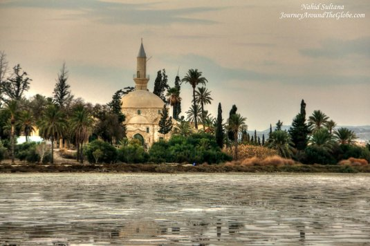 Hala Sultan Tekke Mosque and Salt Lake in the front in Larnaca, Cyprus