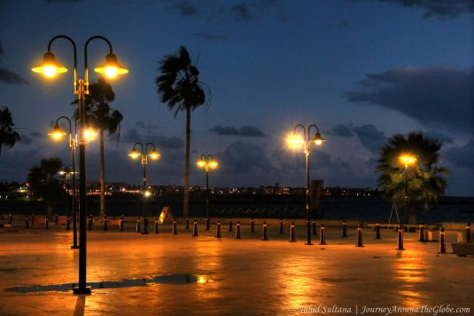 Paphos Harbor at night