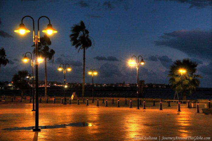 Paphos Harbor at night