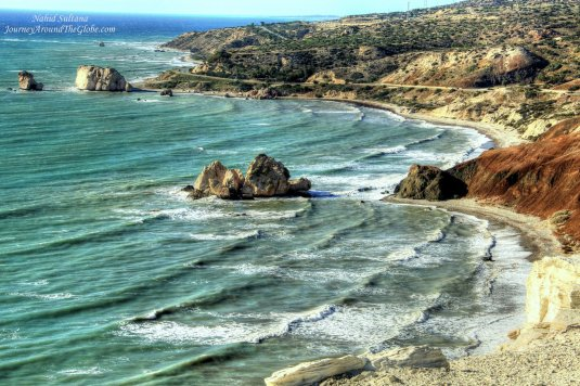 Looking over Petra Tou Romiou from a panoramic point, in Cyprus
