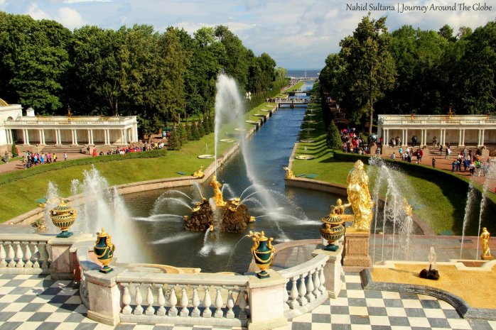 Looking over Peterhof Garden from the terrace - St. Petersburg, Russia