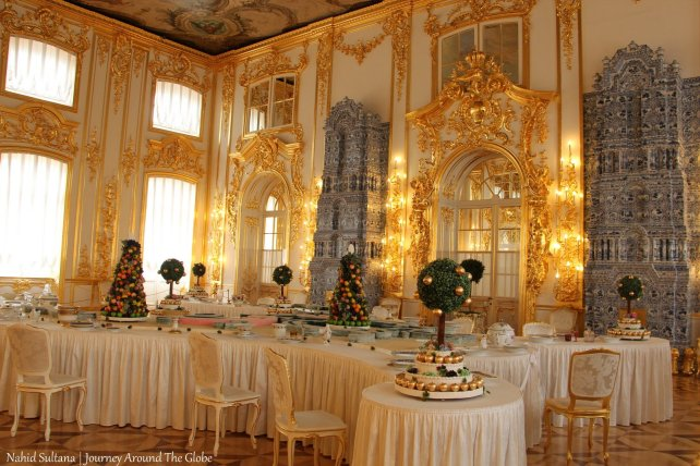 A dazzling room inside Catherine's Palace in St. Petersburg