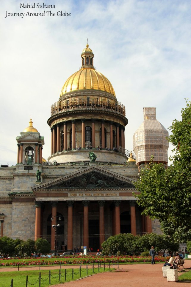 St. Isaac's Cathedral in St. Petersburg, the dome of it was constructed with about 300kg of real gold