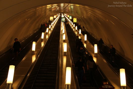 Subway in St. Petersburg, Russia - famous for its depth and fastest metro service