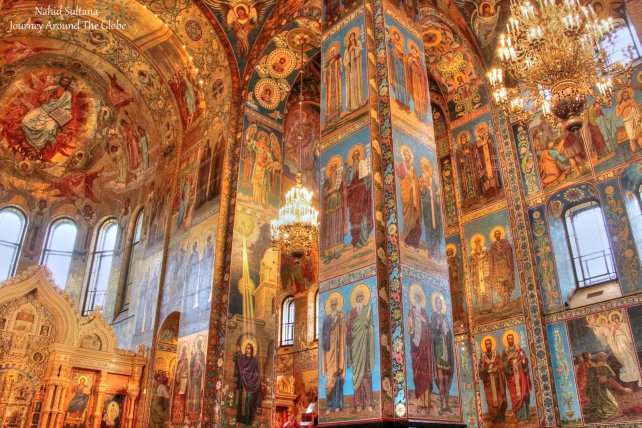 Gorgeous frescoes and chandeliers inside Church on Spilled Blood in St. Petersburg