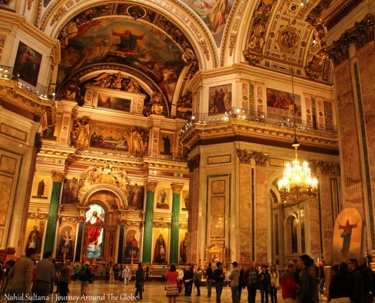Lavish interior of St. Isaac's Cathedral in Russia