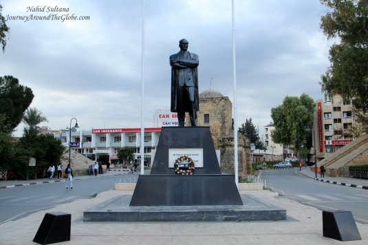 Kyrenia Gate from the 16th century with statue of Kamal Ataturk in Northern Cyprus