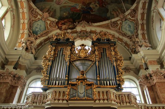 Grand organ and beautiful ceiling of St. Jacob's Cathedral in Innsbruck, Austria