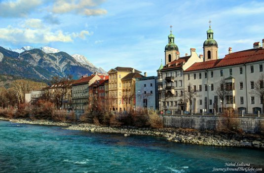Standing on Bridge Innbrucke and enjoying this beauty in Innsbruck