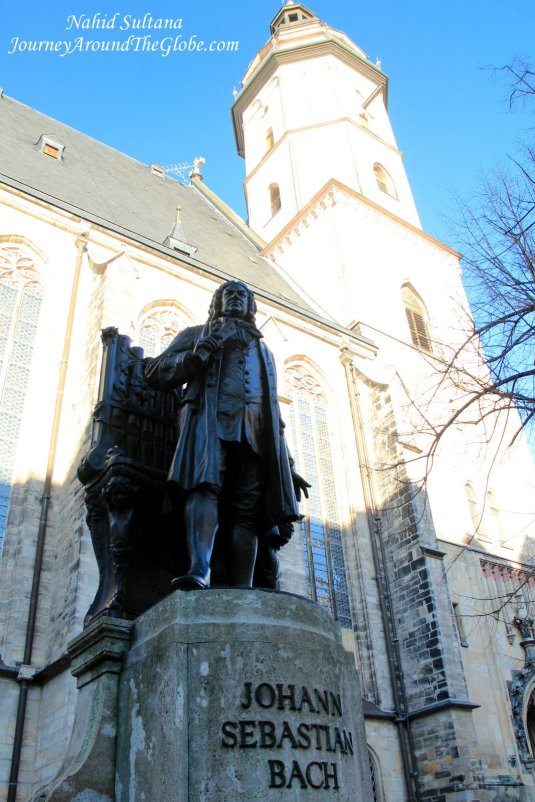 Statue of Johann Sebastian Bach in front of St. Thomas Church in Leipzig, Germany
