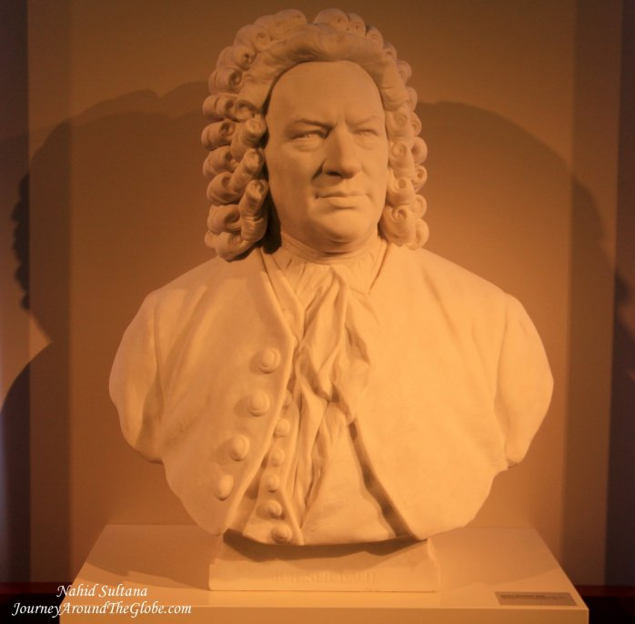 Bach's statue inside Bach's Museum in Leipzig, Germany