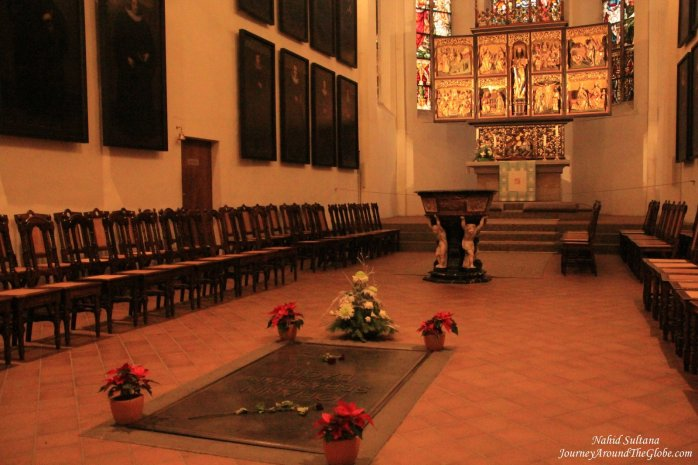 Bach's grave inside St. Thomas Church in Leipzig, Germany