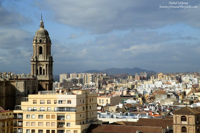 View of Malaga Cathedral from Alcazaba