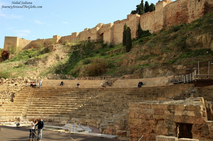 Roman Theater from the 1st century at the foothill of Malaga Alcazaba in Spain