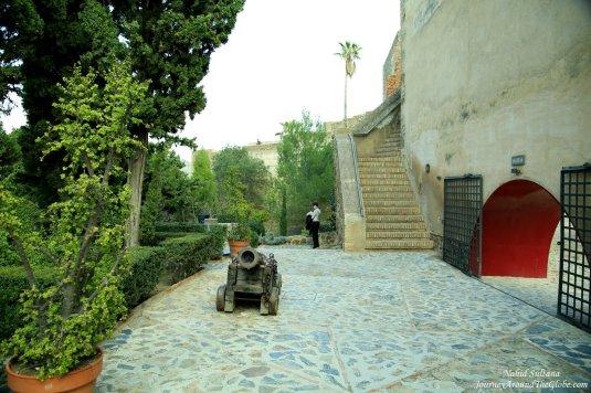 Walking around Gibralfaro Fortress in Malaga, Spain