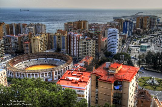 Looking over Malaga Bullring as we were coming down from Gibralfaro Fortress